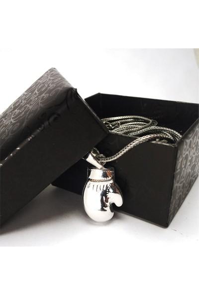 Osmanlı Gümüş Gümüş Boks Eldiveni Erkek Gümüş Kolye Zincir Orta Boy
