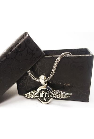 Osmanlı Gümüş Göktürkçe Türk Yazılı Ayyıldızlı Kanatlı Erkek Gümüş Kolye Zincir