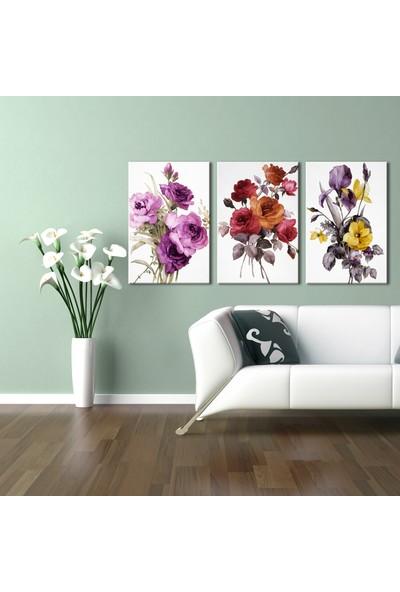 Özverler Kır Çiçekleri 3'lü Kombin Kanvas Tablo
