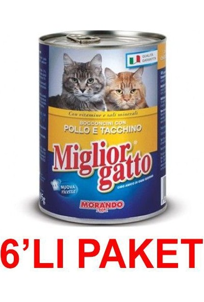 Miglior Gatto Tavuklu Ve Hindili Kedi Konservesi 405 Gr. (6'Li Paket)