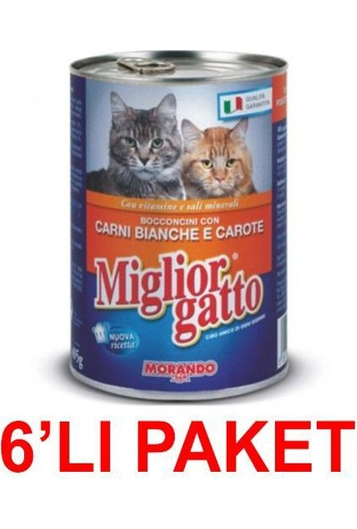 Miglior Gatto Kümes Hayvanli Ve Havuçlu Kedi Konservesi 405 Gr. (6'Li Paket)
