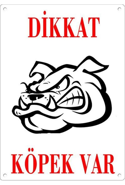 Dikkat Köpek Var Uyari Levhasi (Bulldog Kafali)