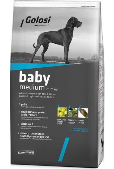 Golosi Dog Baby Medium Tavuklu Orta Irk Yavru Köpek Mamasi 12 Kg