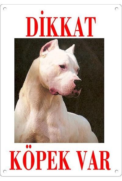 Dikkat Köpek Var Uyari Levhasi (Renkli Dogo Argentino)