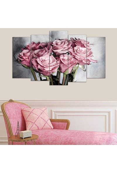 5 Parçalı Mdf Tablo - Pink Roses