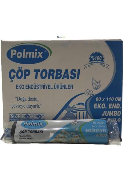 Polmix Endüstriyel Jumbo Boy Çöp Torbası 80 x 110 Cm Siyah 20 Rulo