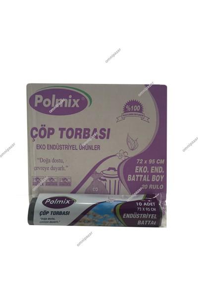 Polmix Endüstriyel Battal Boy Çöp Torbası 72 x 95 Cm Siyah