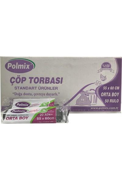 Polmix Standart Orta Boy Çöp Torbası 55 x 60 Cm Siyah 50 Rulo