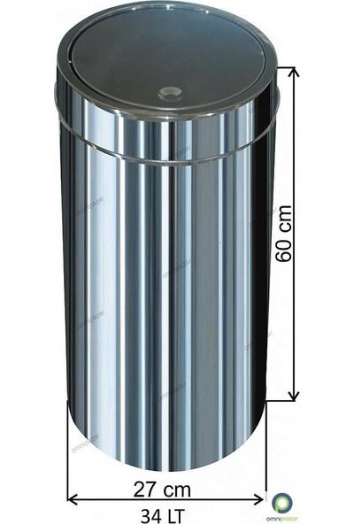 Arı Metal Dokunmatik Kapaklı 34 Lt Paslanmaz Çöp Kovası