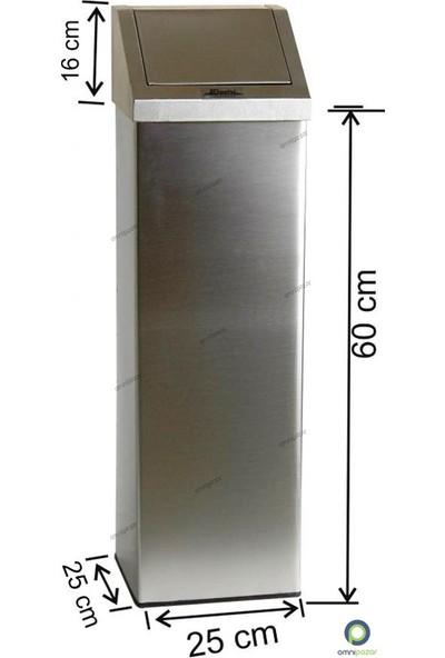 Arı Metal Dokunmatik Kare Yaylı Kapaklı 24 Lt Çöp Kovası