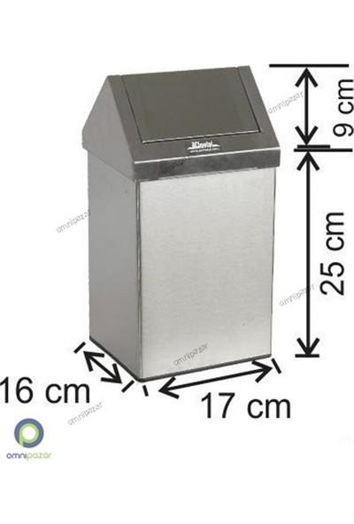 Arı Metal Sallanır Kapak Paslanmaz Çelik Çöp Kovası 6 Lt