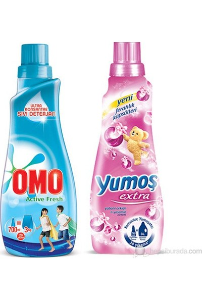 Omo Ultra Sıvı Konsantre Sıvı Active Fresh 700 ML+Yumoş Yaseminli 720ML kapalı