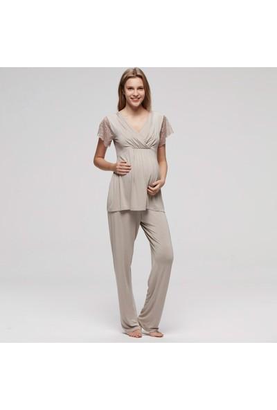 CatherineS Maternity Lohusa Kısa Kol Pijama Takımıı