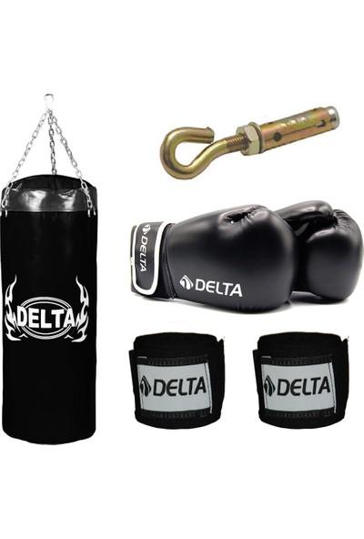 Delta Boks Torbası Seti -Siyah (1 Çift Boks Eldiveni - 1 Çift Kol Bandajı - Tavan Askı Aparatı) 100 x 35 cm