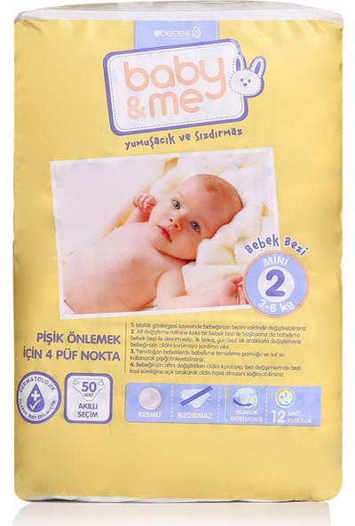 Baby&Me Bebek Bezi Mini 2 Beden 50 Adet