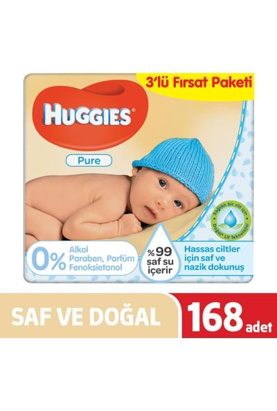 Huggies Yenidoğan Islak Havlu (Saf ve Doğal) 168 Yaprak - 3' lü Paket