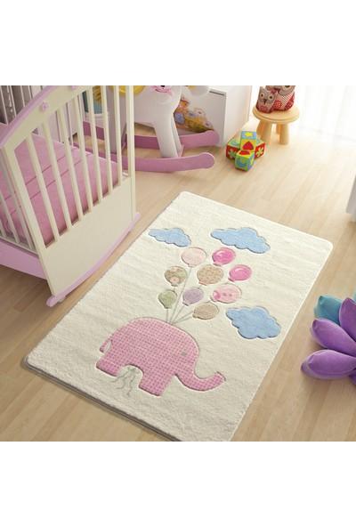 Confetti Sweet Elephant 133x190 Pembe Oymalı Halı