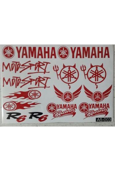 Motosiklet Sticker Seti Küçük Karışık Kırmızı Yazılı A5-003 Yamaha