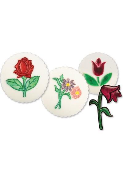 Alpenhaın gül,Lale Ve Çiçek Demeti Figürlü Pasta Kalıbı