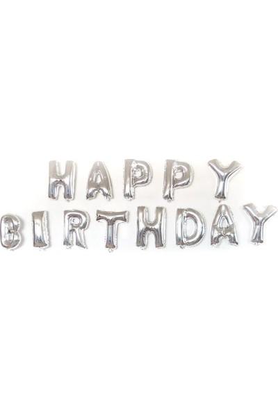 Pastisya happy Birthday Gümüş Balon