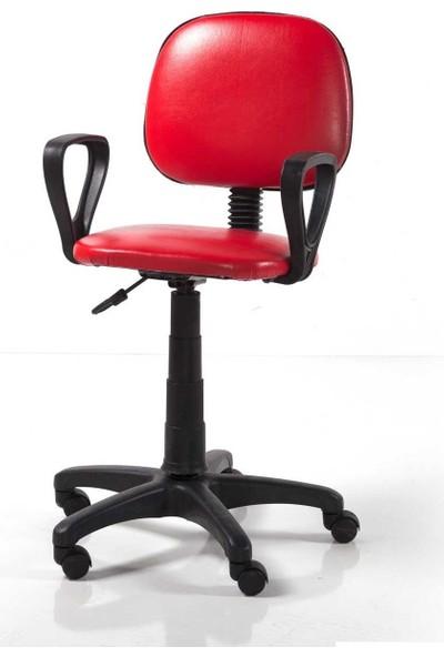 Kombin Mobilya Pratik Bilgisayar Çalışma Koltuğu - Kırmızı