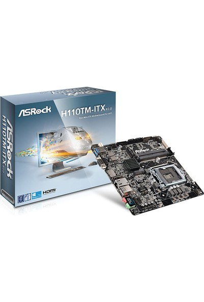 Asrock H110TM-ITX R2.0 Intel H110 2133MHz DDR4 Soket 1151 M.2 Socket Mini ITX Anakart (ASRH110TM-ITXR2) (Kaby Lake BIOS Yüklü)