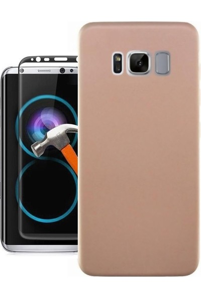 KılıfShop Samsung Galaxy S8 Premier Silikon Kılıf + Tam Ekran Cam