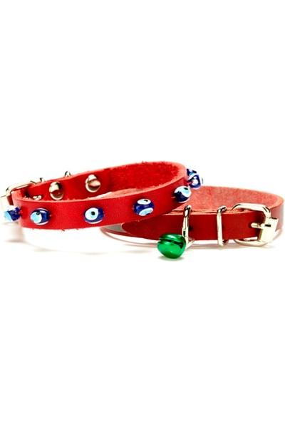 Doggie Boncuklu Kedi Tasması Kırmızı 1,0 X 28 cm