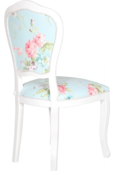 3A Mobilya Pink Flowers Oymalı Sandalye