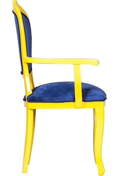 3A Mobilya Şampiyon Babam Oymalı Sandalye - Sarı-Lacivert