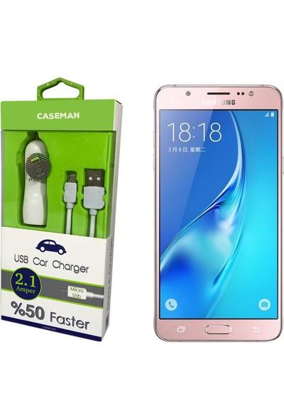 Case Man Samsung J7 2016 Araç Şarj Cihazı Adaptör + Data Kablosu Hızlı Şarj Özellikli