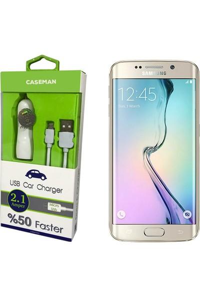 Case Man Samsung S6 Edge Araç Şarj Cihazı Adaptör + Data Kablosu Hızlı Şarj Özellikli