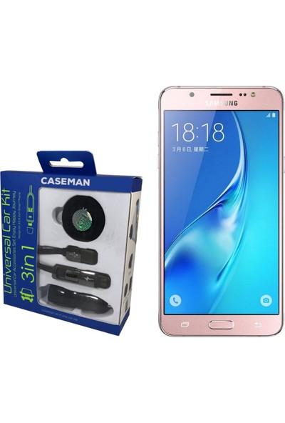 Case Man Samsung J7 2016 Araç Şarj Cihazı + Telefon Tutucu + Kablo 3in1 Araç Kiti