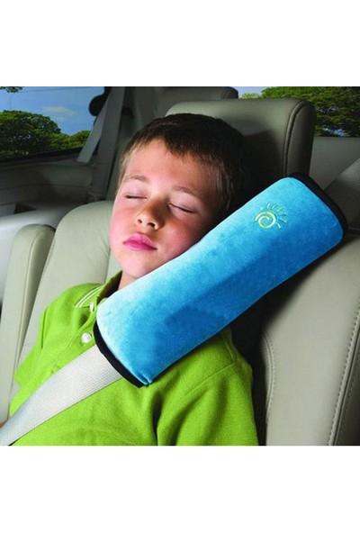 Hsc Yumuşak Emniyet Kemeri Yastığı Baş Desteği Boyun Ve Kafa Destekleyen Yastık Mavi