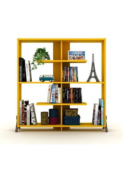 Rafevi Kipp Kitaplık (Ceviz-Sarı)