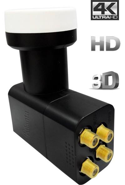 Atlanta Ultra Quattro Santral 4K Full HD LNB (Gold Konnektör/Santral/Merkezi Sistem/Multiswitch Kullanım)