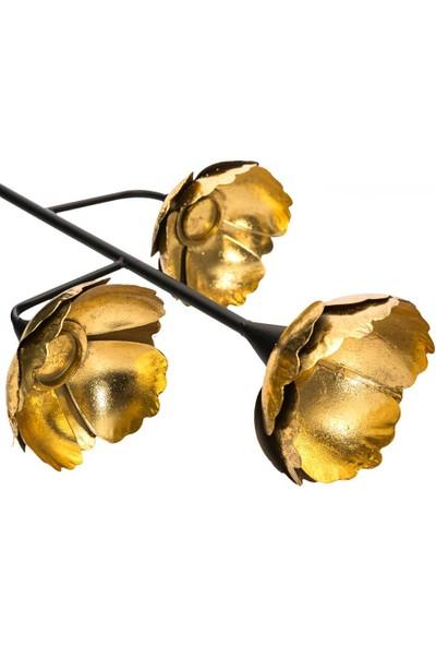 Vitale Altın Varak Metal 3lü Gelincik Mumluk