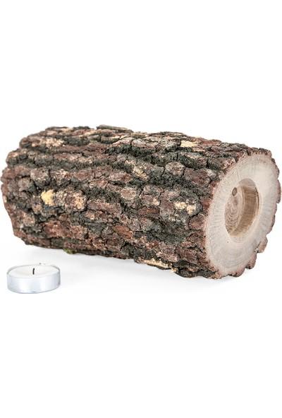 Vitale Ağaç Mumluk Büyük Boy Tam Kütük