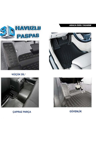 Ford Fiesta 3D Havuzlu Paspas 2009 ve Sonrası A+Plus