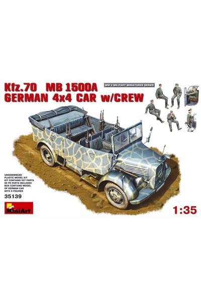 Miniart 1/35 Ölçek Plastik Maket, Alman 4X4 Aracı Kfz 70 Mercedes Benz 1500A Ve Mürettebatı