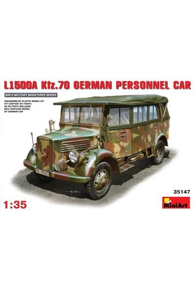 Miniart 1/35 Ölçek Plastik Maket, Mercedes Benz L1500A Kfz 70 Alman Personel Aracı