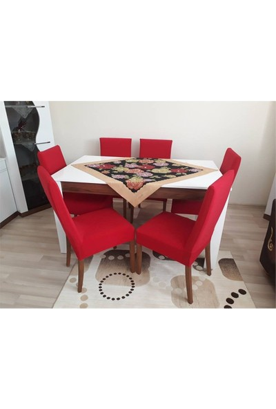 Sandalye Kılıfı - Dalgıç Kumaş - Likralı - Kırmızı 6 Adet