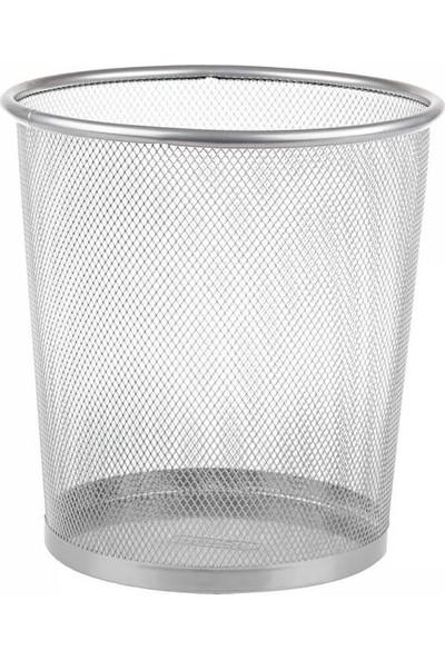 Metal Perfore Çöp Kovası Gri