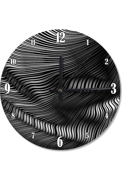 Tablomega Gri Dalgalı Çizgiler Analog Duvar Saati