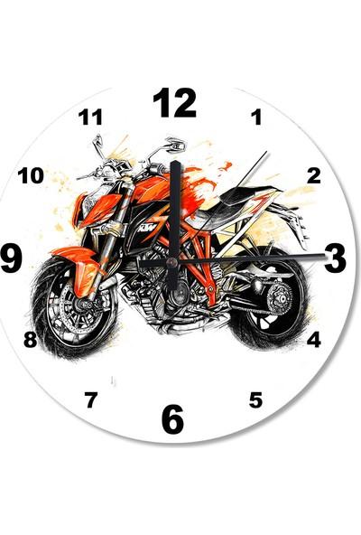 Tablomega Kavuniçi Motosiklet Desenli Duvar Saati