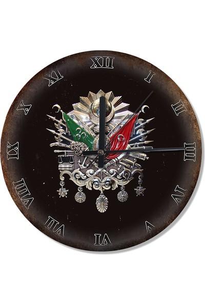 Tablomega Osmanlı Tuğrası Metal Zeminde Tasarım Duvar Saati