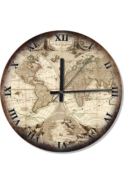 Tablomega Dünya Tarihi Haritası Desenli Duvar Saati