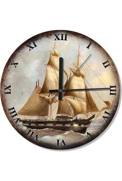 Tablomega Dalgalarla Boğuşan Yelkenli Şekilli Duvar Saati
