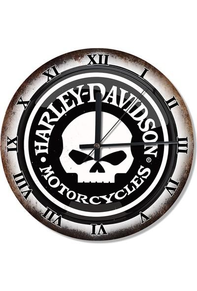 Tablomega Harley Davidson Logo Şekilli Duvar Saati