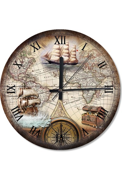 Tablomega Tarihi Harita Yelkenli Gemiler Dekoratif Duvar Saati